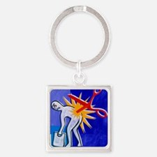 Abstract artwork depicting lower b Square Keychain