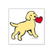 "Yellow Lab Puppy Heart Square Sticker 3"" x 3"""