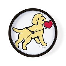 Yellow Lab Puppy Heart Wall Clock