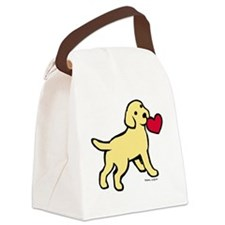 Yellow Lab Puppy Heart Canvas Lunch Bag