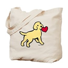 Yellow Lab Puppy Heart Tote Bag