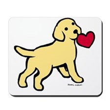 Yellow Lab Puppy Heart Mousepad