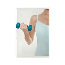 Woman lifting weights Rectangle Magnet