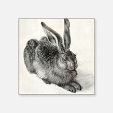 "Young hare, by Durer Square Sticker 3"" x 3"""