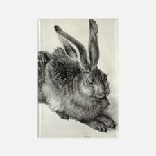 Young hare, by Durer Rectangle Magnet