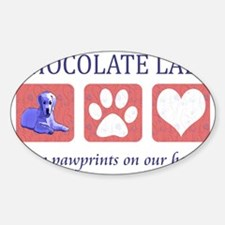 Chocolate Lab Pawprints Sticker (Oval)