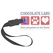 Chocolate Lab Pawprints Luggage Tag