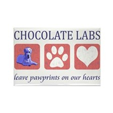 Chocolate Lab Pawprints Rectangle Magnet