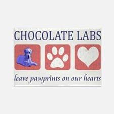 Chocolate Lab Pawprints Rectangle Magnet
