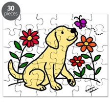 Yellow Labrador and Green Puzzle
