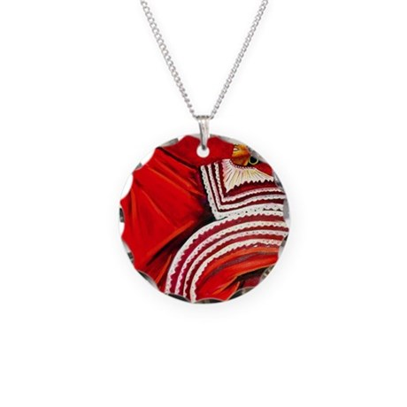 Woman in Red Dress Necklace Circle Charm