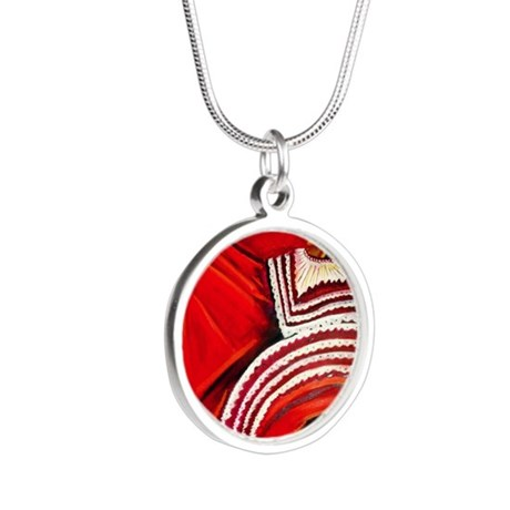 Woman in Red Dress Silver Round Necklace