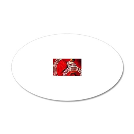 Woman in Red Dress 20x12 Oval Wall Decal