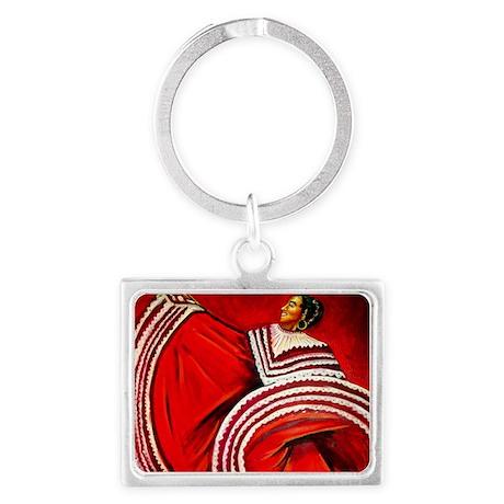 Woman in Red Dress Landscape Keychain