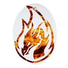 Flaming dragon Oval Ornament