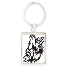 Tribal Wolf 3 Portrait Keychain