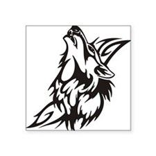"Tribal Wolf 3 Square Sticker 3"" x 3"""