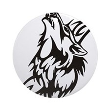 Tribal Wolf 3 Round Ornament