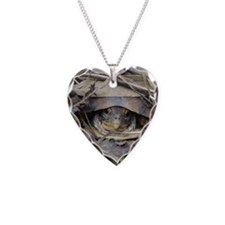 Camo Turtle Necklace Heart Charm
