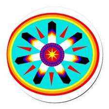 EAGLE FEATHER MEDALLION Round Car Magnet