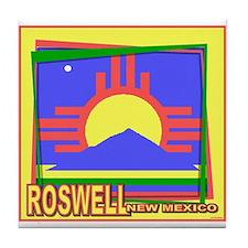 Roswell NM Flag Art Tile Coaster