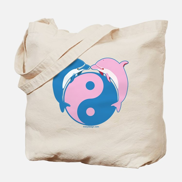 Dolphins Yin Yang Blue/Pink Tote Bag
