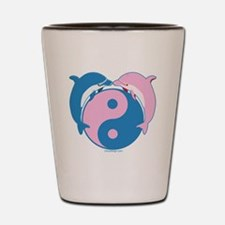 Dolphins Yin Yang Blue/Pink Shot Glass