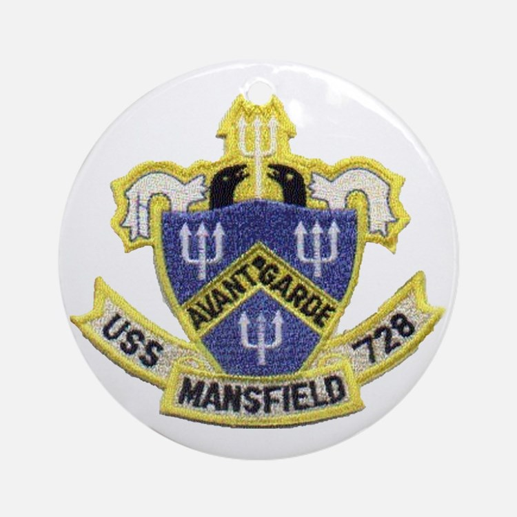 uss mansfield patch transparent Round Ornament