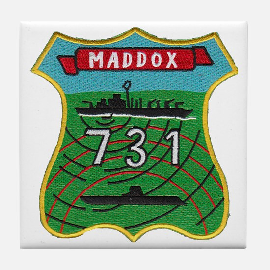 uss maddox patch transparent Tile Coaster