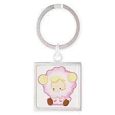 Sweet Sheep Square Keychain