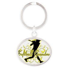 Softball Grandma (silhouette) Oval Keychain