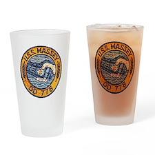 uss massey patch transparent Drinking Glass