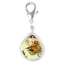 Clockwork Cowboy - Winding  Silver Teardrop Charm