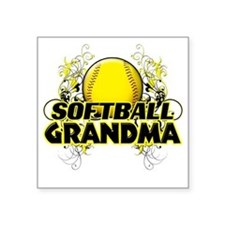 "Softball Grandma (cross) Square Sticker 3"" x 3"""
