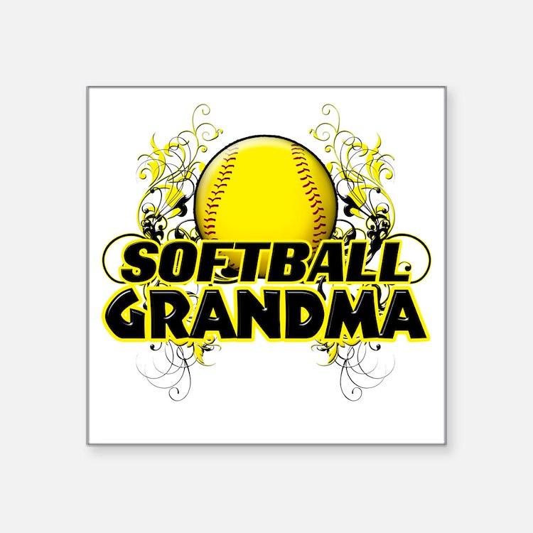 "Softball Grandma (cross) Square Sticker 3"" x 3"""