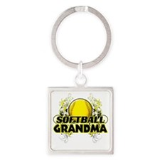 Softball Grandma (cross) Square Keychain