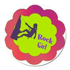 Rock Girl rock climber design Round Car Magnet