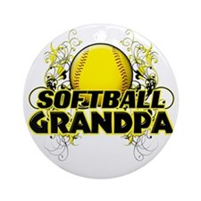 Softball Grandpa (cross) Round Ornament