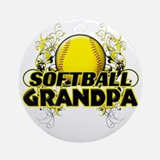 Softball Grandpa (cross) Round Ornament