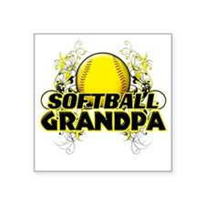 "Softball Grandpa (cross) Square Sticker 3"" x 3"""
