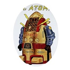 Mr. Atomic, the Robot scifi vintage Oval Ornament