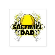 "Softball Dads (cross) Square Sticker 3"" x 3"""