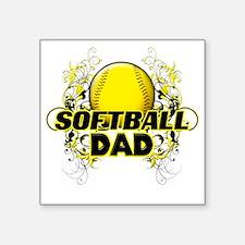 "Softball Dads (cross) Square Sticker 3"" x 3"""