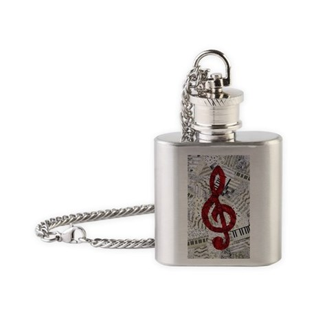 Red Treble Clef Flask Necklace
