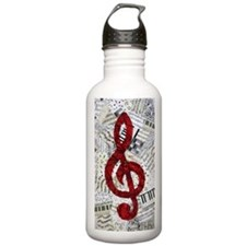 Red Treble Clef Sports Water Bottle