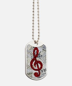 Red Treble Clef Dog Tags