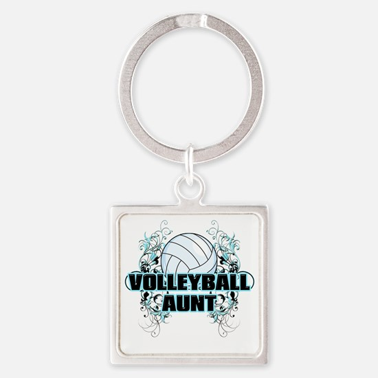 Volleyball Aunt (cross) Square Keychain
