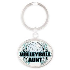 Volleyball Aunt (cross) Oval Keychain
