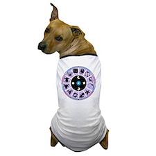 Zodiac Wheel in Purple Stars and Moons Dog T-Shirt