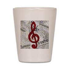 Red Treble Clef Shot Glass
